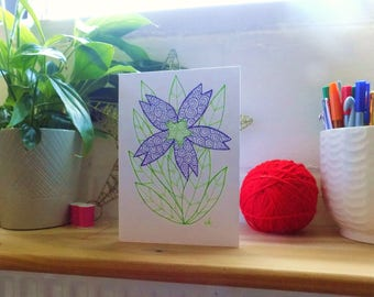 Purple Flower Drawing Greetings Card, Blank Note Card, Original Abstract Hand Drawn Card