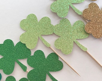 Shamrock Cupcake Toppers - St Patricks Day - Cupcake Toppers - St Patricks Day Food Picks - St Patricks Party Decor - Glitter Toppers