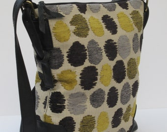LARGE SHOULDER BAG by Elizabeth Z Mow   Fabric and Leather Zot s Dots