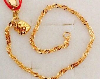 22k solid 916 gold heart bell twist bracelet