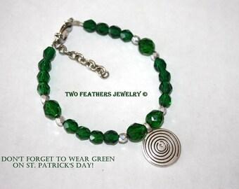Green And Silver Beaded Bracelet - Silver Spiral Bracelet - Green Bracelet - Silver Bracelet - St Patricks Day - Emerald Green Czech Glass
