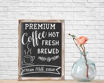 Chalkboard Art, Coffee Bar, Kitchen Chalkboard, Typography, Quote Prints, Printable,  Printable Quote, Chalkboard Printable