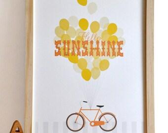 Hello Sunshine Typography Bicycle Print retro modern orange nursery wall art print . children decor
