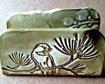 Ceramic Kitchen Sponge Holder Business Card Holder Olive Sage green Bird Organic Shape