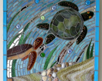 Mosaic, Stained Glass, Sea Turtles, Caretta, Ocean, Sea, Seashells, Water, Blue