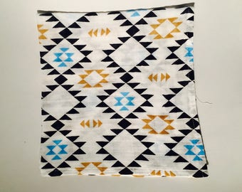 Aztec theme double gauze baby Swaddle. Hand made in France