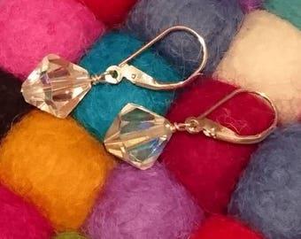 Vintage crystal drops| sterling silver earrings| crystal beads|bridesmaid gift| latch grip earrings
