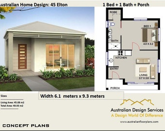 45 Elton 45 m2 |  1 Bedroom home design - Concept House Plans For Sale