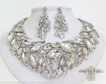 Crystal Bridal Jewelry Set, Statement Necklace, Back Drop Necklace, Vintage Style Wedding Necklace Earrings, Chunky Necklace