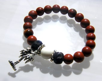 Red Natural Agate Stretch Bracelet with wooden and Silver accents