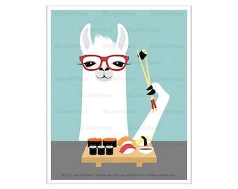 42J Funny Animal Art - White Llama Eating Sushi Wall Art - Sushi Print - Animal Wearing Glasses - Foodie Gift - Sushi Drawing - Llama Print