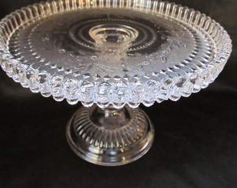 "Cake Stand - ""Stippled Forget-Me-Nots"" - Findlay Flint Glass Company"