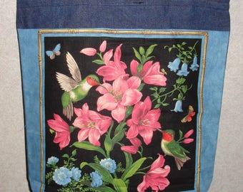 New Handmade Large Hummingbird Spring Flowers Panel #1 Denim Tote Bag
