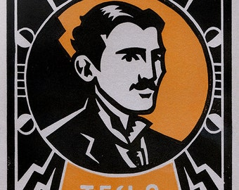 Art Deco Portrait of Inventor NIKOLA TESLA - Lino Block Print