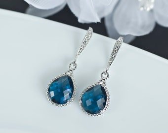 Sapphire Earrings, Blue Sapphire Bridesmaids Earrings, Blue Sapphire Teardrop Glass and Cubic Zirconia Earwires