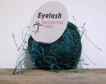 trendsetter eyelash yarn . teal 43 . 73yds . blue-green fluttery extra long eyelash fun fur novelty component art yarn . destash