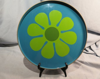 Blue Serving Tray 14 inches with a Green Flower