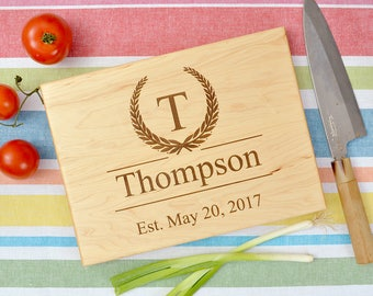 Custom monogram cutting board, wedding gift, custom cutting board, engraved cutting board, anniversary gift, with wreath.