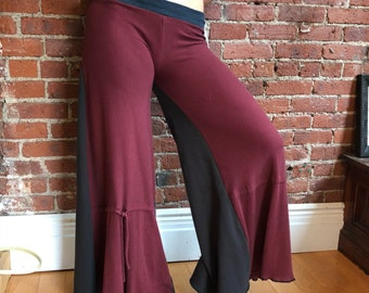 Long soft palazzo pants-upcycled eco clothing-long wide leg- yoga pants- hippie boho- maroon and gray- medium- cotton