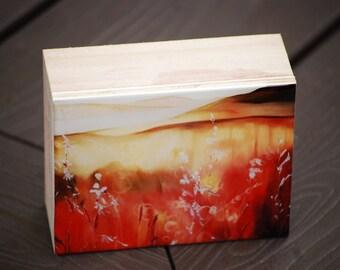 "resined print of original painting ""invitation"", 3x4"", landscape, prairies, home decor, botanical, wildflowers, bokah"