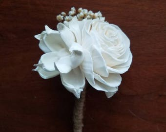 Sola wood boutonniere,  boho boutonniere,  pin on corsage, wooden flower,  sola flower,  groom flowers,  wedding party , dried flowers