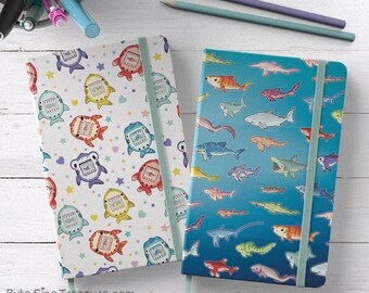 Shark Hardbound Sketchbook // Kawaii Moleskine Style Journal Notebook