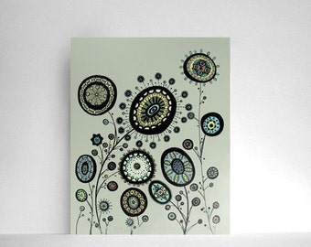 60% OFF SALE: Garden Filled with Circle Flowers in Mint Green, Sage Green, Pale Sky Blue and Butter Yellow  8x10 Print