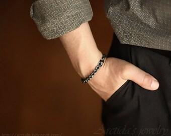 Mens bracelet men jewelry chainmaille oxidized sterling silver bracelet for men - mens fashion man sexy masculine male bracelet - Adonis