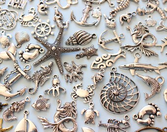 Wholesale 100+ Piece of Various Ocean Charms seahorse Starfish, fish, dolphins, turtle,Antique Silver