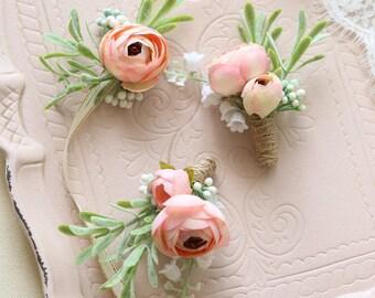 Corsage and Boutonniere Set, Wrist Corsage, Mia Pink Ranunculus Peony // Wedding / Prom / Bridesmaids / Groomsmen