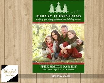 Custom Photo Christmas Card / Digital File / Christmas Card / Holiday Card / DIY Printable / Christmas Tree Card