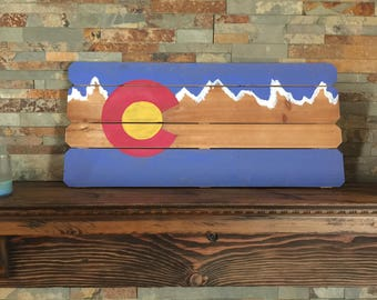 Colorado Flag hand painted wood sign