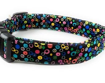 Black with Multi Colored Rainbow Polka Dots Adjustable Dog Collar