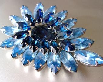 Blue Givre Rhinestone Brooch, Rhodium Plated, Marquis-Cut, Vintage