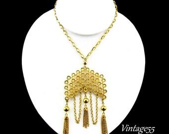 Necklace Pendant Tassel Bib Gold tone