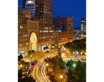 Boston Harbor Hotel, Rowes Wharf, Boston Photography, Boston Print, Boston Art, Wall Decor, Boston Skyline, Night Photography