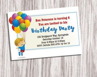 Downloadable Birthday Card, Downloadable Card,Birthday Card,Boy Birthday Card,Boy Printable Invitation,Child Birthday Card,  Birthday Invite