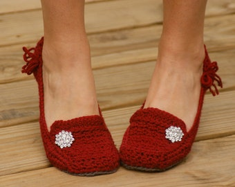Crochet Pattern for Womens House Slippers - Pattern number 117 - Instant Download L