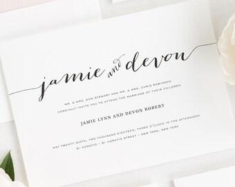 Flowing Script Wedding Invitations - Sample