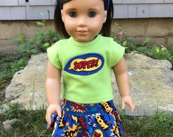 Girl Doll Power clothes, Doll Super Heroes 18 inch doll clothes, Girl Power, Doll SUPER shirt, American Doll skirt, Glitter shoes