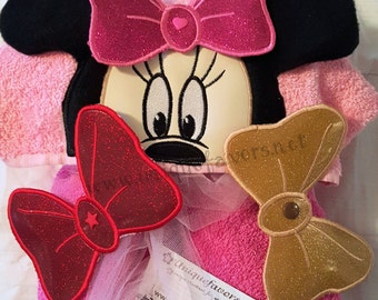 Girl or Boy Mouse Hooded Towel with optional detachable Bow and Add ons! Personalized!