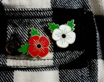 Hard Enamel Poppy Pin | Red & White | Veteran Symbol
