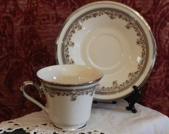 Lenox China Teacup and Matching Saucer - Lace Point Pattern, Platinum Band