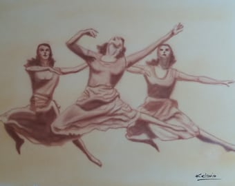 """Art Painting """"IN THE AIR""""   Realism Acrlylic on Canvas 12 x 15 inches. galleryart29"""