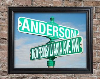 Personalized Intersection Street Sign Framed Print - Personalized Intersection Street Sign Print -  Gifts for Him - Gifts for Dad - GC1450
