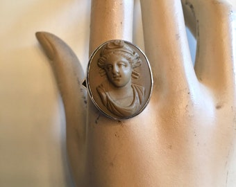 Antique Vintage 1800s Victorian Lava Cameo Silver Ring Grand Tour Carved Cameo