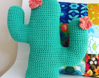 Flower Cactus Cushion - Crochet Cactus - Crochet Cactus Pillow - Crochet Cushion - Saguaro - Cacti