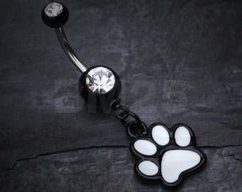 Paw Print Belly Button Ring - Black