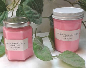 8 oz, 6 oz. Pink Sugar Fragrance Joy's Sweet Scent Handmade Eco Friendly Candles - Pick Your Size