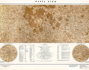 Russian Moon Map, Topographic; Highly Detailed, 1985